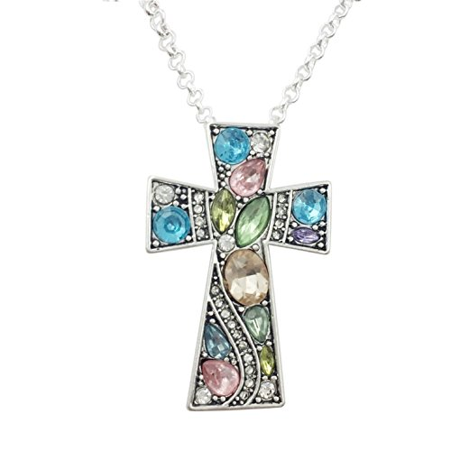 Gypsy Jewels Simple Christian Cross Rhinestone Bling Silver Tone Necklace (Multi Pastel Blue Green Pink)