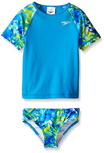 Speedo Little Girls Tie Dye Splash Rash Guard 2 Piece Set, Pop Blue, 6X