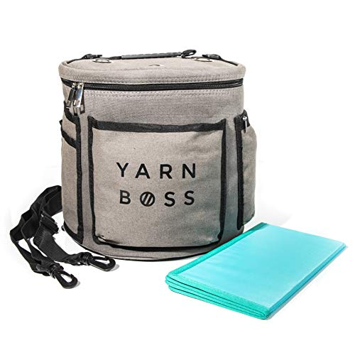 (Yarn Boss Yarn Bag, Travel With Yarn and all Notions - Yarn Storage To Organize Multiple Projects and Keep Your Yarn Safe and Clean - Wide Grommets Stop Tangling for Best Crochet Bag or Knitting Bag)
