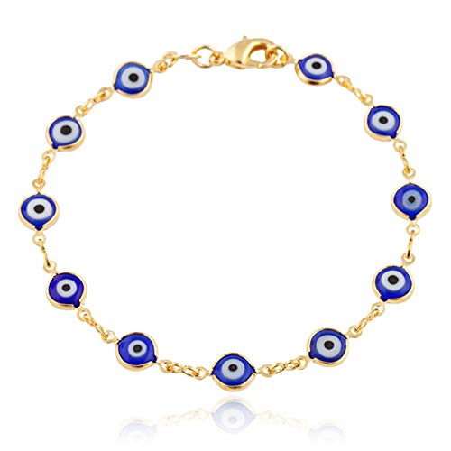JEWELRY PARADISE Navy Blue Mini Evil Eye Charms Bracelet Unisex for Girls Boys Teen Petite-Adult Woman-Men 14kt Gold Filled Protection Good Luck Yoga Feng Shui Kabbalah Turkish Nazar Pulso Ojo (6.5)