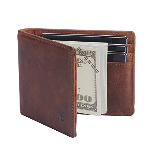 Win Income Mens Money Clip Wallet Bifold Slim Leather Thin Clip Wallets Brown