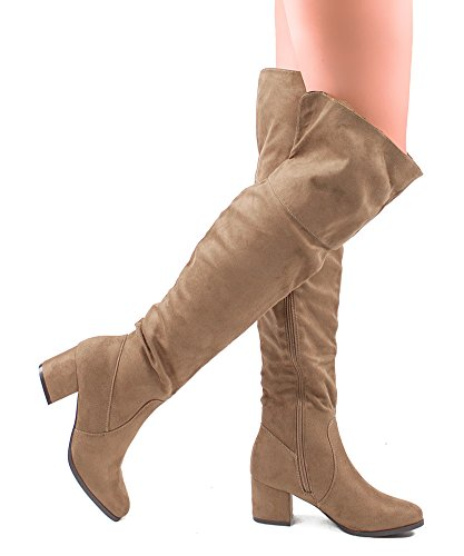 RF ROOM OF FASHION Damen Overknee-Stretchstiefel - Trendy Pullon Niedriger Blockabsatz Komfortabler Schuh - Reißverschluss - In mittlerer und breiter Weite erhältlich Taupe Wildleder - Mittleres Kalb