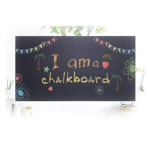 "Chalkboard Contact Paper 17.7"" x 78.7""- Extra Large Chalkboard Sticker Vinyl Wall Decal Poster w/ 5 Free Chalks. Self Adhesive Blackboard Contact Paper for Home Office. Peel and Stick Black Wallpaper -"