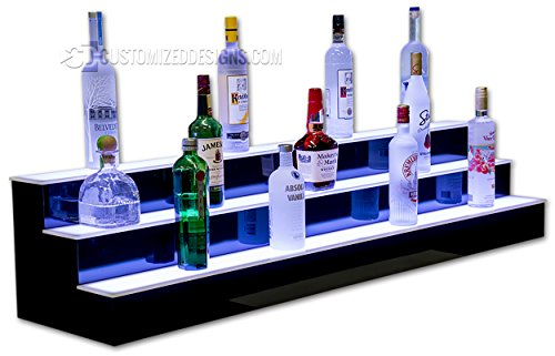 60'' 3 Step Led Illluminated Commercial Grade Back Bar Shelving, Programmable LED Lighting by Customized Designs