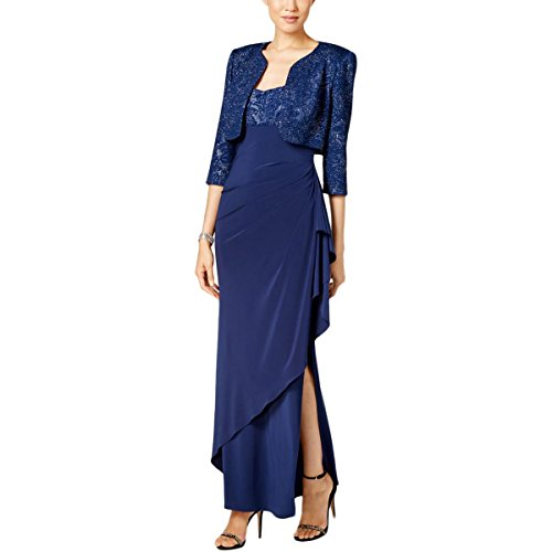 (Alex Evenings Women's Empire Waist Bolero Jacket Dress (Petite and Regular Sizes), Blue Jay, 16)