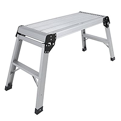 Best Choice Products Aluminum Platform Drywall Step Up Folding Work Bench Stool Ladder
