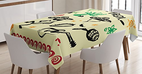 Decorations Tablecloth Ambesonne Hispanic Rectangular