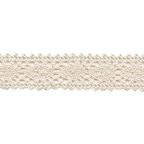 Morex Ribbon 2612.16/25-002 Polyester Crocheted Lace Ribbon, 5/8