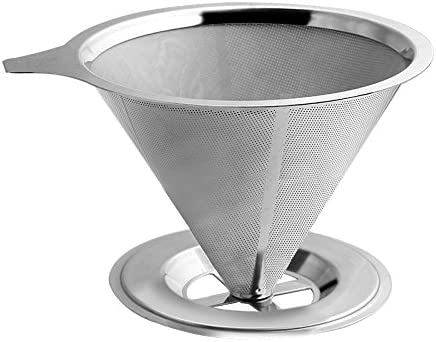 Acero inoxidable papel vierta sobre cafetera goteo Set con doble filtro de malla: Amazon.es: Hogar