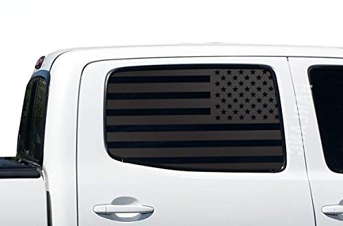 Toyota Tacoma | USA American Flag Decals in Matte Black for Crew Cab windows | Fits 2nd Generation 2005-2015 | TP7.A