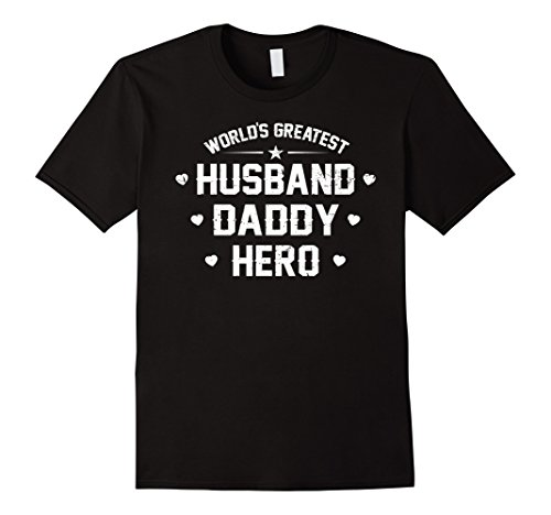 Mens World's Greatest t-Shirt Husband Daddy Hero Father's Day Large Black