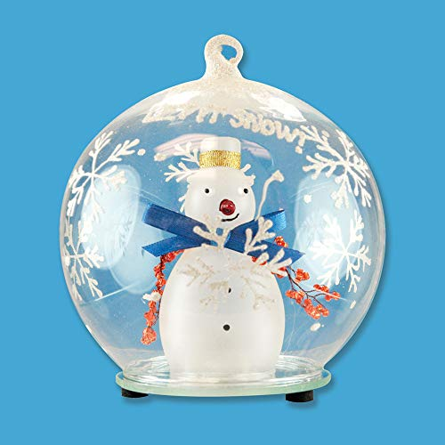 BANBERRY DESIGNS LED Snowman Christmas Ornament Glass Globe Color Changing Hand Painted Snowflakes 5 Inch ()