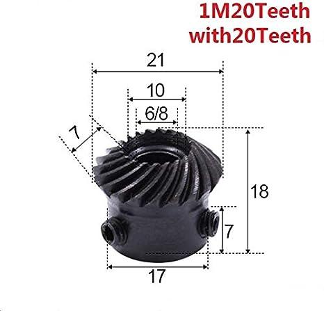 Size : 6mm FLY MEN 2pcs 1 1 de Engranajes c/ónicos 1 M/ódulo 20 Dientes Interiores del Agujero 6//8 mm a 90 Grados la Unidad de conmutaci/ón de Acero al Carbono Engranajes