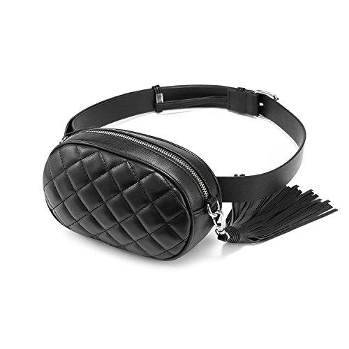 para pequeño la con de Pack de bolsa Negro … mujeres viaje diamante cinturón las funciones de Fanny borla de Bolso múltiples cintura moda bolsa Bumbag patrón ajustable wgzxt