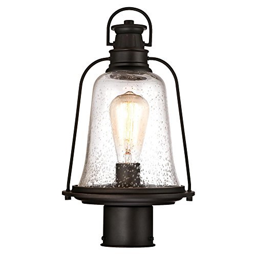 Westinghouse Lighting 6347000 Brynn One-Light Outdoor Post-Top Fixture, Oil Rubbed Bronze Finish with Highlights and Clear Seeded Glass (Outdoor Lamp Post Oil Rubbed)