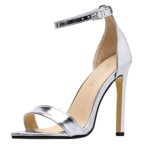 Women's Shoes Womens Sandals Ankle Strap High Heels Open Toe Sandals Ladies High Stiletto Pump Heel Sandals Night Club Silver (Silver Fabric Footwear)