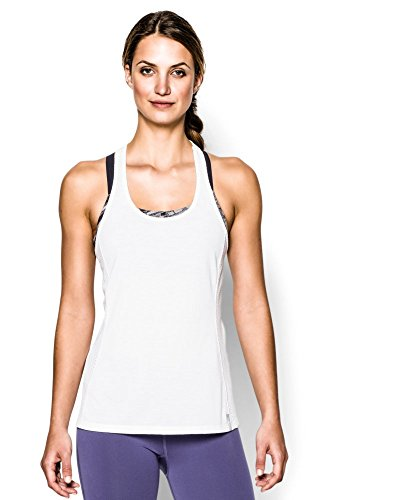 Under Armour Women's UA Fly-By Stretch Mesh Tank Extra Small White