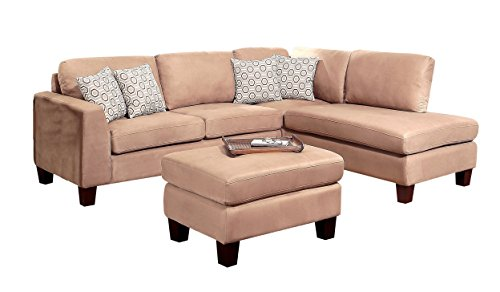 Abbyson Living Griffith Fabric Sectional And Ottoman Set, Beige
