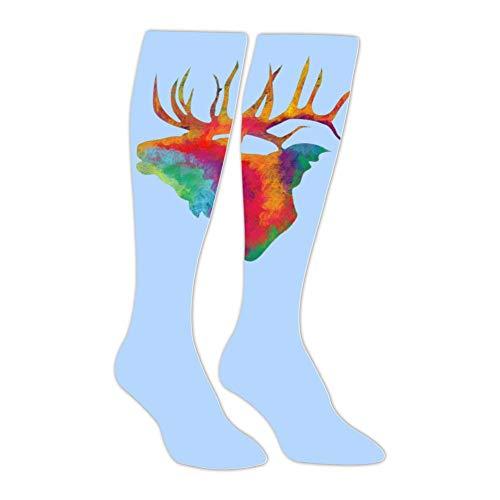 Elk Arches - Long Stockings Colorful Elk Painting Tube Knee High Socks Athletic Sports Leggings Slimming Socks for Man Women