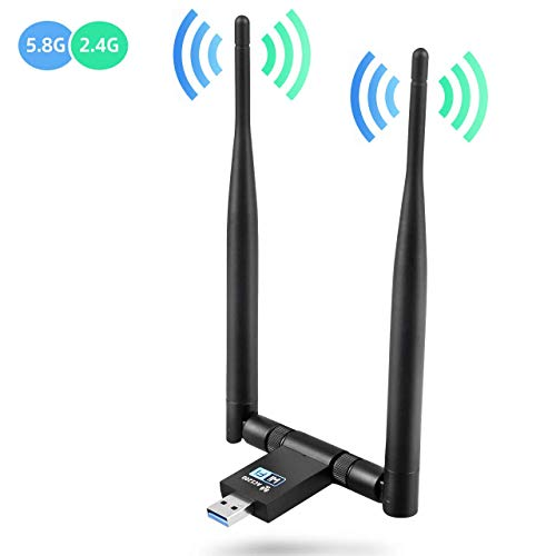 USB WiFi Adapter Wireless Network Adapter,1200Mbps Dual Band 2.4GHz/300Mbps 5GHz/867Mbps High Gain Dual 5dBi Antennas Network WiFi USB 3.0 for Windows 10/8/7/XP, Mac OS 10.6-10.14