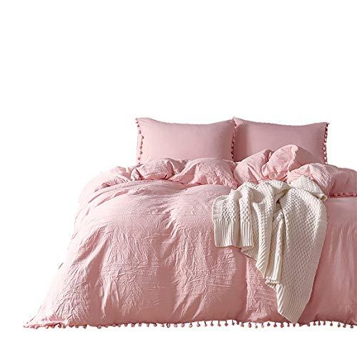 iAsteria Pom Pom Duvet Cover Set, Soft Microfiber Bedding, Fringe Design, with Zipper and Ties - 3PCS, Light Peach Pink, -