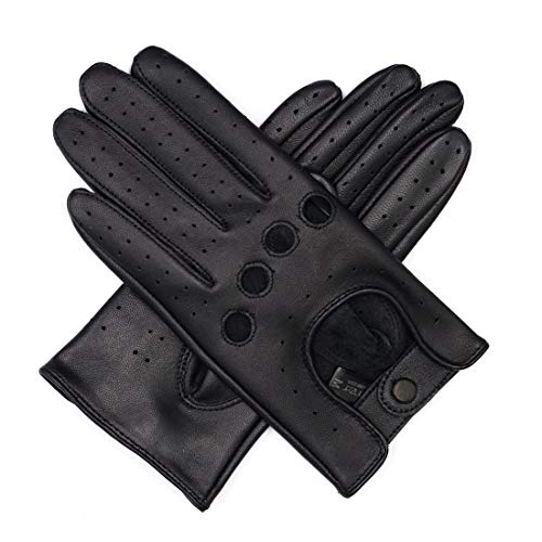 Harssidanzar Touchscreen Italian Lambskin Leather Driving Gloves Unlined Vintage Finished