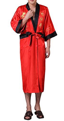 - SexyTown Long Satin Lounge Bathrobe Classic Print Kimono Bobe Nightgown X-Large Red-Black(Reversible)