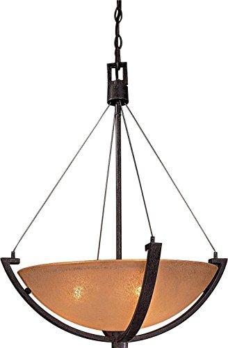 Iron Oxide Finish 3 Bulbs - Minka Lavery Pendant Ceiling Lighting 1182-357, Raiden Large Bowl, 3 Light, 300 Watts, Iron