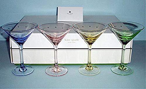 Kate Spade Larabee Dot pop Mini Martini 4 Glasses Crystal in 4 Colors New
