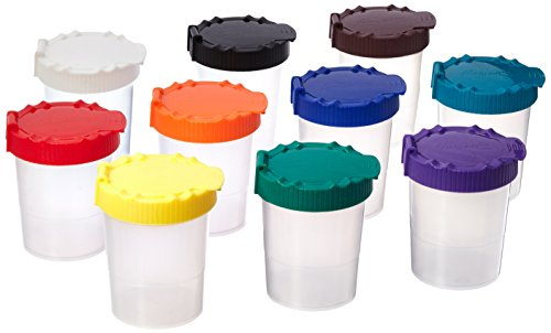 Sargent Art No-Spill Paint Cups with Lids, 7 oz, Assorted Colors (Pack of 10)
