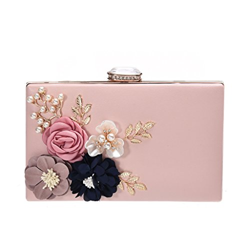 Women's New Evening Handbags Flower Evening Clutch Pearl Beaded Evening Handbag For Cocktail Wedding Pink