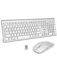 FENIFOX - Combo inalámbrico para teclado y ratón, doble conmutación de sistema ergonómico, tamaño completo USB silencioso, compatible con PC de sobremesa MacOS Windows 10 (color blanco plata)