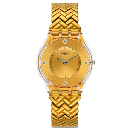 Swatch SFE106G Golden Street Analog Slim Dial Yellow Gold Steel Bracelet Watch