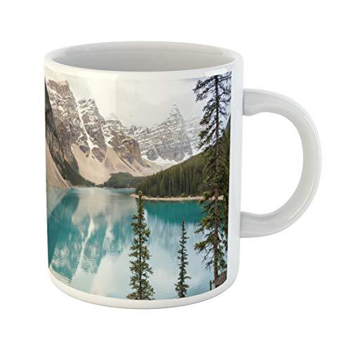 Semtomn Funny Coffee Mug Blue Beautiful Moraine Lake Banff National Park Alberta Canada 11 Oz Ceramic Coffee Mugs Tea Cup Best Gift Or Souvenir