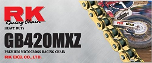Links 100 Chain (RK Racing Chain GB420MXZ-100 Gold 100-Links Heavy Duty Chain with Connecting Link)