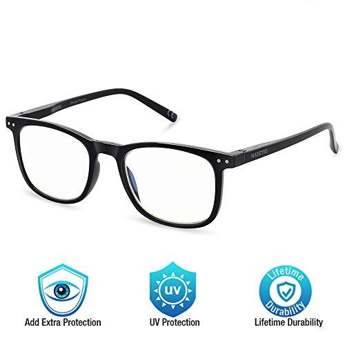 Blue Light Blocking Glasses, Cut UV400 Computer Reading Glasses for Anti Eyestrain, Lightweight Eyeglasses Frame, Sleep Better for Men/Women(0.00,No Magnification) (Black)