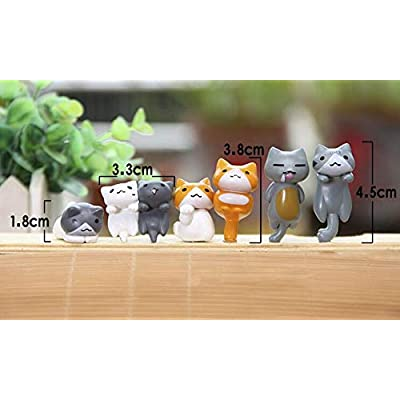 6 Pcs Miniature Lucky Cat Figurines, Cute Cat Toys Figures DIY Crafts for Fairy Garden Decoration Home Decor Cake Toppers: Toys & Games