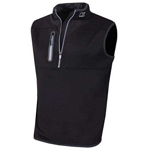 Cutter & Buck 2017 Mens Golf Thermal Tech Windproof Half Zip Vest Black XL - Half Zip Windproof Pullover