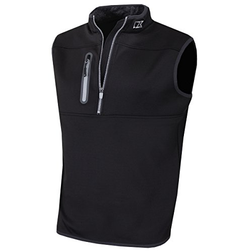 Cutter & Buck 2017 Mens Golf Thermal Tech Windproof Half Zip Vest Black Large