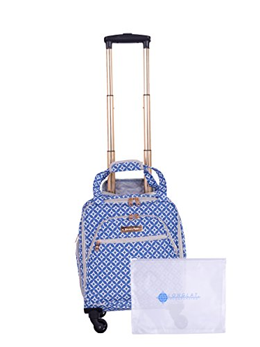 Jenni Chan Colima 2-Piece Set 15'' Spinner 311 Bag Travel Tote, Blue, One Size by Jenni Chan