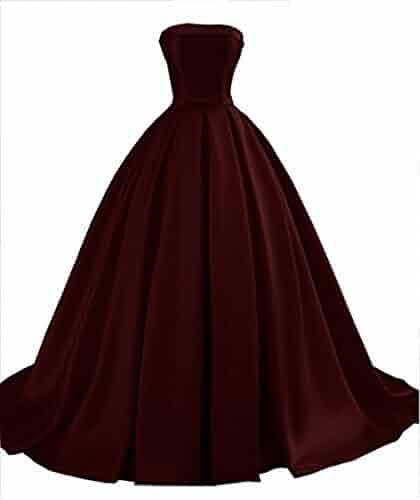 3ee0fb360263 VikDressy Women's Strapless Satin Prom Dresses 2018 Long Formal Ball Gowns