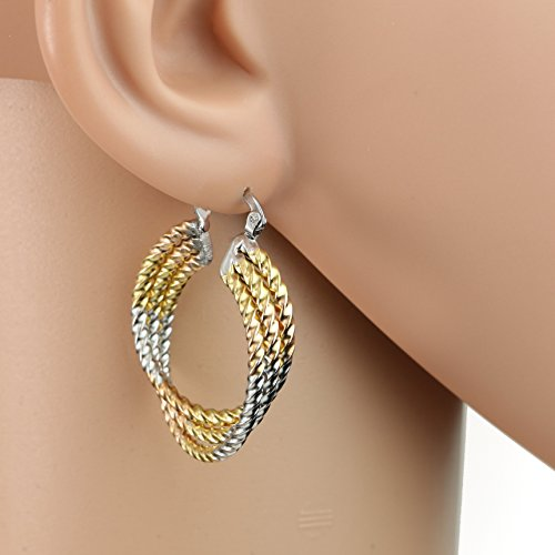 United Elegance - Contemporary Polished Twisted & Twirled Tri-Color Silver, Gold & Rose Tone Hoop Earrings (Fashionable Twist) from United Elegance