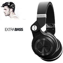 Bluedio T2+ Plus Turbine Wireless Bluetooth Headphones 57mm drivers with Microphone / Micro SD Card Slot / FM Radio (Black)