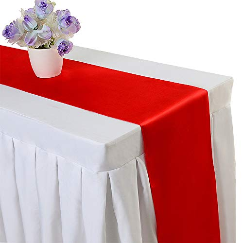 10PCS 12 x 108 Inch Satin Table Runner Wedding Banquet Decoration (#16 Red) ()