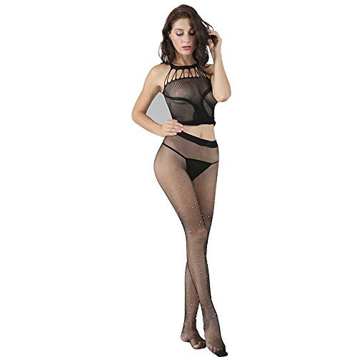 zenicham Women's Sexy Erotic Fishnet Lingerie Babydoll Teddy Body Cat Suit Stocking Hen Party (No G-String) ()