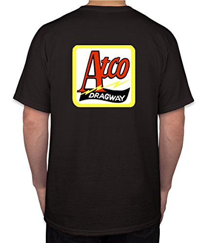 Atco Dragway Hot Rod Rat Nostalgia Drag Race Racing NHRA Black Short Sleeve Shirt (XXX-Large) (Nhra Clothing)