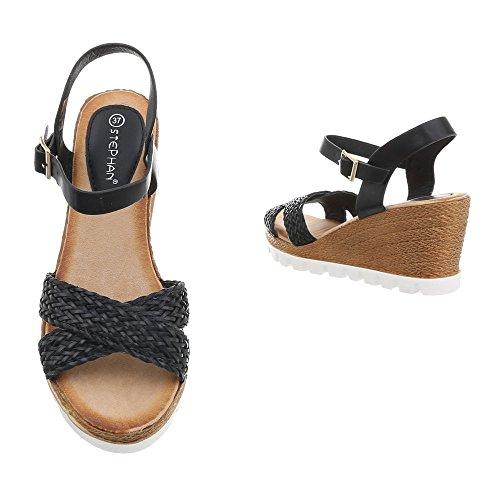 30 Zeppa Donna Fd Ital Da Nero Sandali design Scarpe xnwnX8