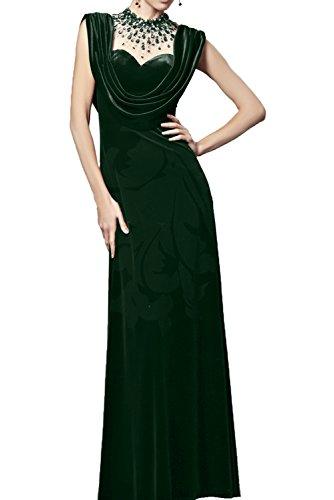 Elegant Tanzenkleider Tuell Promkleider Neckholder mit Samt Grün Ivydressing Bodenlang Abendkleider Damen Armlos Partykleider Applikationen ATwpxWqfFW