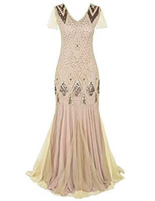 Kayamiya Women 1920s Long Prom Gown Beaded Sequin Art Deco Formal Evening Dress With Sleeve