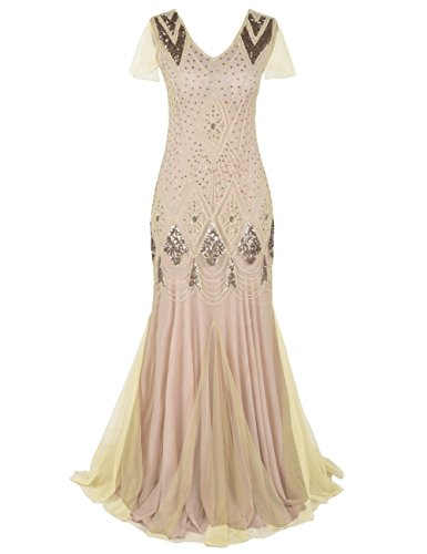 kayamiya 1920s Long Prom Gown Beaded Sequin Art Deco Formal Evening Dress with Sleeve S Champagne Pink